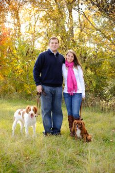 Engagement photos with the pooches taken at Kiesel Park in Auburn, AL (Daniel Taylor Photography)