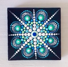 Original Blue Mandala Painting on Canvas by CreateAndCherish