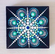 Original Blue Mandala Painting on Canvas by CreateAndCherish