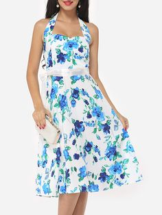 Assorted Colors Floral Printed Bowknot Chic Halter Skater Dress - fashionme.com