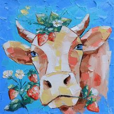 Cow Painting, Cow Art, Fine Art Gallery, Canvas Size, Cows, Artist, Artwork, Etsy, Cow Wall Art