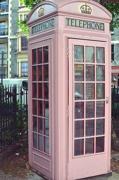 Double take. The iconic British telephone booth is only made better in a beautiful shade of pink!
