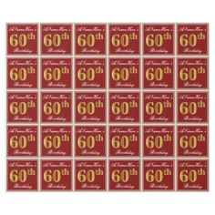 Elegant Red Faux Gold 60th Birthday; Custom Name Wrapping Paper - faux gifts style sample design cyo