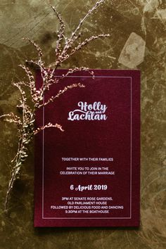 A custom wedding invitation, so simple and minimal for the gorgeous Holly and Lachlan Maroon Wedding, Houses Of Parliament, Custom Wedding Invitations, White Ink, Minimal, Marriage, Rose, Simple, Personalised Wedding Invitations