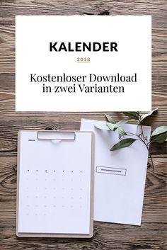 Kostenloser Kalender 2018 // Download in zwei Varianten