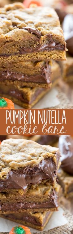 These Pumpkin Nutella Cookie Bars are the best pumpkin recipe ever! Rich pumpkin cookie bars filled with gooey Nutella - such an easy recipe the whole family will LOVE! Definitely making these and lots of pumpkin goodies. Mini Desserts, Fall Desserts, Just Desserts, Delicious Desserts, Dessert Recipes, Yummy Food, Oreo Dessert, Pumpkin Dessert, Dessert Bars
