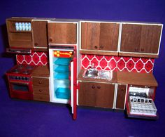 Image detail for -VINTAGE 1970s LUNDBY DOLLS HOUSE COMPLETE RED TILE KITCHEN SUITE ...