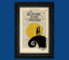 Nightmare Before Christmas Moon Print -  Halloween Jack Skellington Poster Book Art Dorm Room Print Gift Wall Decor Poster Dictionary Art