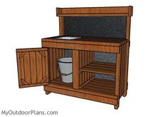 This step by step diy woodworking project is about a potting bench with sink plans. I have designed this potting bench with a sink so you can take care of the small plants in a stylish manner. Potting Bench With Sink, Outdoor Potting Bench, Potting Bench Plans, Outdoor Benches, Potting Tables, Pergola Ideas For Patio, Diy Pergola, Pergola Kits, Pergola Plans
