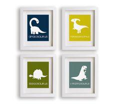 Dinosaurs - Set of Four Art Prints