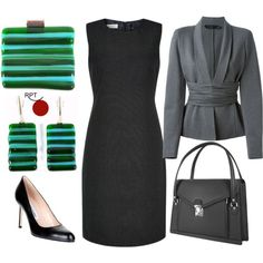 Smart Modest Office Outfit - litle black dress, gray jacket and black highheels - complemented with Glass Jewelry Set designed for professional women by Red Point Tailor - https://redpointtailor.com/shop/growth-glass-jewelry-set/