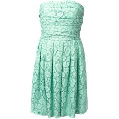 Moschino Cheap & Chic lace strapless dress ($398) ❤ liked on Polyvore featuring dresses, vestido, green, strapless cocktail dresses, green lace dress, green lace cocktail dress, strapless dresses and green dress