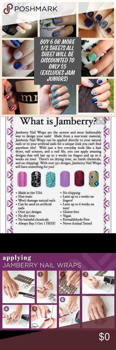 NEED 2 KNOW ABOUT JAMBERRY NAIL WRAPS READ HERE ''This post is to provide more information on Jamberry Nail wraps. Pictures above show what they are, the different finishes, heating times for each finish, how to put them on and my sale.  IF you buy 6 or more half sheets all you have to do is bundle them and then submit me an offer of $5 for each half sheet (this offer doesn't include Jamberry Juniors)  We sell all sheets in 1/2 sheets based on customer feedback that they would like to have…