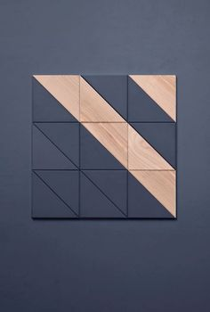 DIAGONAL Tile concept This time studio FILD decided to experiment with concrete colors, forms and textures, resulting in the creation of wall decorative tiles made of concrete and wood. A square, diagonally divided, was taken for a shape reference. Concrete Color, Concrete Tiles, Deco Design, Tile Design, 3d Wall, Wood Wall Art, Wood Wall Tiles, Tile Patterns, Textures Patterns