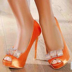 orange high heels trend shoes models #PackingSpree