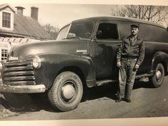 Uncle Eddie with out 1949 Chevy Panel Van Still runs today. Antique Trucks, Vintage Trucks, Antique Cars, Chevy Vans, Run Today, Panel Truck, Chevrolet Trucks, Classic Trucks, Cool Trucks