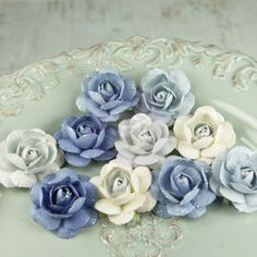 Angelica Rose Collection (Prima) - Bonnie, The Stamp Simply Ribbon Store Love Blue, Pink Blue, Blue And White, Blue Ombre, Baby Blue, Style At Home, Ribbon Store, Light Blue Flowers, Little Flowers