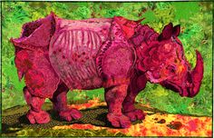 Before I was the crocodile quilt lady, I was known by some as the pink rhino quilt lady. Between teaching, home life, and other commitments, I have averaged one big piece per year for about a decad…