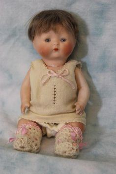 Antique 6 Inch All Bisque Tynie Baby Doll by Horsman Swivel Head 1924 from turnofthecenturyantiques on Ruby Lane