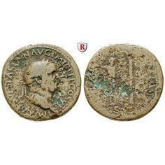 Römische Kaiserzeit, Vespasianus, Sesterz 71, s-ss: Vespasianus 69-79. Messing-Sesterz 33,5 mm 71 Rom. Kopf r. mit Lorbeerkranz IMP… #coins