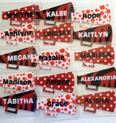 Megaphone cheer bag tags by Toodletags!  www.toddletags.etsy.com Cheer Sister Gifts, Cheer Team Gifts, Cheer Camp, Football Cheer, Cheer Dance, Varsity Cheer, Softball Gifts, Basketball Gifts, Alabama Football