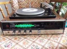 Vintage Sears solid state am/fm stereo 8 track record player walnut Tested #Sears