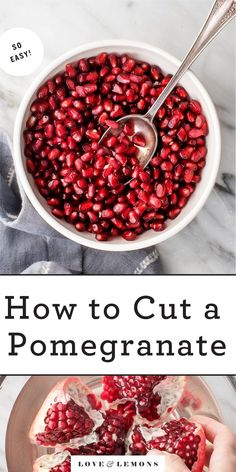 Learn how to cut a pomegranate like a pro! Then, find creative pomegranate recipes to showcase this healthy, delicious, ruby red fruit. | Love and Lemons #pomegranate #howto #fruit #healthyrecipes Pomegranate Recipes, For Love And Lemons, Lemon Recipes, Fruit Recipes, Fall Recipes, Vegetarian Recipes, Cooking Recipes, Healthy Recipes, Easy Delicious Recipes