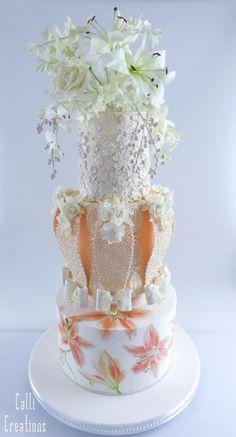90's Wedding Cake by Calli Creations - http://cakesdecor.com/cakes/283875-90-s-wedding-cake