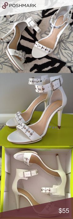 """Gianni Bini Shawnell Studded Ankle-strap Sandals White leather w/metal stud detail.  Adjustable ankle strap w/buckle closure.  Padded memory foam sock and rubber outsole.  .39"""" platform; 3.39"""" heel; feels like 3"""" heel. Gianni Bini Shoes"""