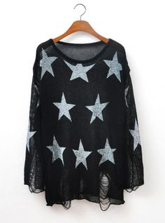 Stars Sweater With Holes In Black ($39, originally   $46.8) http://www.udobuy.com/goods-12604.html#.Ufd0CtL8m9M
