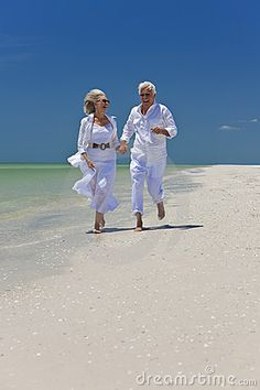 Love walks on the beach together hand in hand...