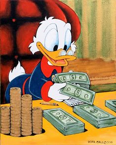 Scrooge Mcduck Counting Money Art Print Limited Signed Edition Art Prints are available for $ 35.  www.victorminca.com