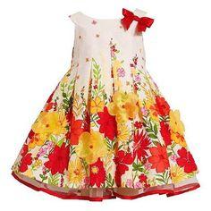 Bonnie Baby Infant Girls White Orange Flower Border Pleated Cotton Dress