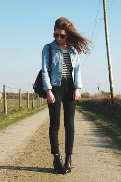 Denim Jacket, High Waisted Jeans, Rucksack, Truffle Chelsea Boot Platforms, Striped Jumper, Sunglasses