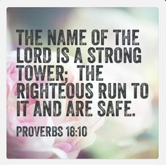RUN TO HIM!  The name of the LORD is a strong tower; the righteous run to it and are safe (Proverbs 18:10).  When you are afraid, doubt yourself, feel defeated, are fatigued, depressed, overwhelmed, and discouraged-be led to the rock that is higher than yourself (Psalm 61:2).  Allow Jesus Christ to be your refuge and strong tower!  Please visit 1st Fruits Ministries LLC FACEBOOK HOME PAGE and click LIKE for daily inspiration (click on link) https://m.facebook.com/1stFruitsMinistriesLLC For…
