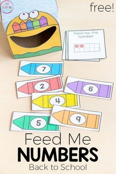 Feed me numbers crayon activity for back to school. A fun way to learn numbers in pre-k or kindergarten.This is perfect for your math centers! #mathcenters #preschool #kindergarten #backtoschool #freeprintable