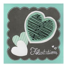 Carte Félicitations mariage Coeur Vert d'eau, Collection Lovely Scrap - Lovely Carte