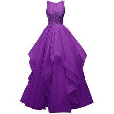 Dresstells Long Prom Dress Asymmetric Bridesmaid Dress Beaded Organza... (€110) ❤ liked on Polyvore featuring dresses, gowns, beaded gown, purple prom dresses, long evening dresses, bridesmaid dresses e long gowns