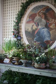 plants in aged Campo de Fiori pots on the mantle in the White House by Laura Dowling/Ariella Chezar