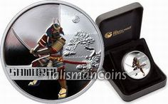 Tuvalu 2010 Great Warriors #4 - Japanese Samurai and Katana Sword $1 Pure Silver Dollar Proof with Color