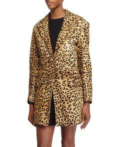 Leopard-Print Calf-Hair Coat, Tan, Leopard Print - McQ Alexander McQueen