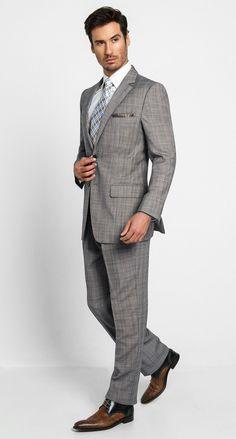 2 Button Notch Classic Malo Stripe-Grey Men's Suit $498.00