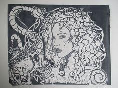 eva. linoleum carving print