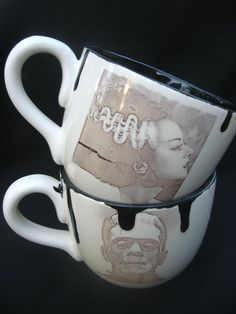 "Frankenstein & Bride of Frankenstein Wedding or Halloween Set. The only ""his and her"" cups I will ever consider. I CALL THE BRIDE."