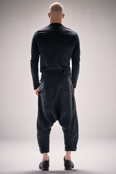 Black Sarouel Cropped Linen Pants / Black Drop Crotch Trousers