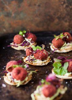 Beetroot falafel recipe on toasted pita #recipe #vegetarian