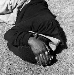 From San Francisco Museum of Modern Art (SFMOMA) , David Goldblatt, Man sleeping, Joubert Park, Johannesburg. from the series Particulars prin…