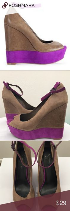 """[Jessica Simpson] Color Block Peep-Toe Wedges Color block wedges by Jessica Simpson. Tan textured leather with purple suede wedged heels. Cute + fun + comfy! Only worn 2-3 times. Great condition with a little ware inside the shoe (pictured) but not noticeable when you're wearing them. Size 8.   5.5"""" heel.   ⭐️ Bundle 2 or more items from my closet to receive 15% off and save on shipping! All orders are carefully shipped in a padded envelope or box within 1 business day from CO. ⭐️ Jessica…"""