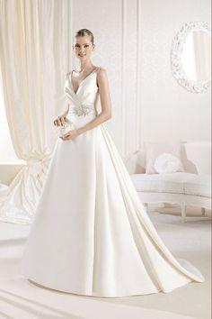 Ball Gown Wedding Dresses : 2014 V Neck A Line Wedding Dress Beaded With Satin Skirt Ruffled Sweep Train