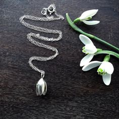 Sterling silver snowdrop necklace spring flower by GraceandFlora